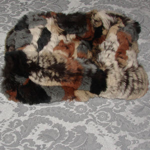 Rabbit Fur Headband Multi-Color Brown